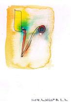 """""""Gesichtsfeld"""" / Werkverzeichnis 1.590 / datiert 24.05.98 / Aquarell und Textilfarbe auf Papier / Maße b 24,0 cm * h 32,0 cm - Arbeit 1 """"Gesichtsfeld"""" verkauft an Elke Schmidt-Sawatzki, Espelkamp -"""
