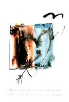 """""""Gefangenes Liebesbild mit nach rechts fliehendem Vogel!"""" / WVZ 3.709 / Datiert Torre del Mar, den 26. April 2004 / Aquarell und Tusche auf Papier / Maße b 21,0 cm * h 29,7 cm"""