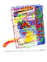 """""""Kompositionsexperiment"""" / Werkverzeichnis 3.719 / datiert T. d. M., 05.05.2004 / Plusterfarbe, Filzstift und Aquarell auf Papier / Maße b 21,0 cm * h 29,7 cm"""