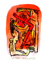 """""""Einheit 1"""", WVZ 1.025, / datiert 03.10.1996 / Filzstift und farbige Tinten auf Bütten / Größe b 10,0 cm * 16,0 cm"""