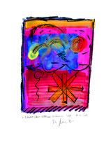 """""""Schwerer Stern fällt aus verdünnter Luft"""" / WVZ 3.764 / datiert 04.10.2005 / Ölkreide und Aquarell auf Papier / Maße b 42,0 cm * h 59,4 cm"""