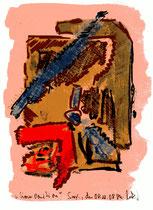 """""""Komposition"""" / Torrox, 08.10.08 / Original Grafik als Farbzeichnung und Aquarell auf Papier / B 14,7 cm * H 21,0 cm / Werkverzeichnis 3.794"""