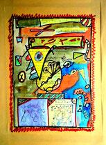 """""""Kultur"""" / """"Ausschuß"""" Espelkamp - Rathaus, den 15.10.1992 Werkverzeichnis 316 Filzstift, Buntstift, Aquarell und Text auf Kulturausschußeinladung, auf Papier geklebt. b 30,0 cm * h 40,0 cm"""