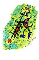"""""""o. T."""" 1, WVZ 1.055 / datiert 13.10.96 / Filzstift und Aquarell auf Aquarellpappe / Maße b 12,0 cm * h 16,0 cm"""