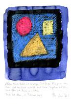 """""""Gefangenes Licht ist..."""" / WVZ 3.694 / datiert Torre del Mar, 29. Februar 2004 / Ölkreide, Tinte und Text auf Papier / b 21,0 cm * h 29,7 cm"""