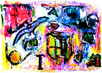 """""""Nesterregend flieg ich durch die Welt"""" Isny, den 05.11.1991, Werkverzeichnis 197, Tusche, Kreide, Kohle auf Papier, b 33,0 cm * h 24,0 cm"""