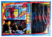 """""""Kanzlerkandidat"""" / Werkverzeichnis 1.629 / datiert 7/98 / Spiegelzeitschrift Doppelblatt versehen mit Farben und Text / Maße b 29,7 cm cm * h 42,0 cm"""