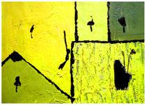 """""""Ackerfrüchte"""" Gestringen, 03.92, Werkverzeichnis 282, Materialmontage von Pappe, Draht, Holz und Farben auf Papier, b 40 cm x h 30 cm"""