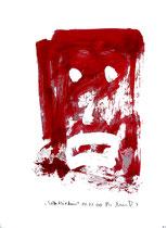 """""""Selbstbildnis"""" 15 / WVZ 3.259 / datiert Wiesmoor, 11.12.00 / diverse Farben auf Papier / Maße b 30,0 cm * h 42,0 cm"""