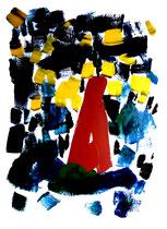 """""""In der Mitte des Meeres bei Nacht, den Blick zum Strand gewandt"""" Gestringen, den 12.10.1988, Werkverz. 112, Öl-, Binderfarben auf Papier, b 50,0 cm x h 70,0 cm"""