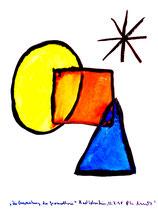 """""""Die Verwurstung der Geomethrie"""" / Werkverzeichnis 1.642 / Datiert Bad Sobernheim, 22.07.1998 / Aquarell und Tusche auf Papier / Maße b 42,0 cm * h 56,0 cm"""