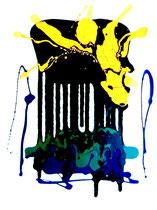 """""""Opferstock"""" Gestringen, den 15.10.1988, Werkverzeichnis 113, Binderfarben, Ölfarben und Lack auf Papier, b 50,0 cm x h 70,0 cm"""