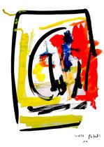 """""""o. T."""" 14 / Werkverzeichnis 1.694 / datiert 20.08.98 / Tusche und Aquarell auf Papier / Maße b 30,0 cm * h 42,0 cm"""