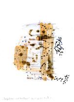 """Irgendwann nach unbekannt"" / WVZ 3.228 / datiert 06.11.00 / Filzstift, Bleistift, Asche und Aquarell auf Papier / Maße b 21,0 cm * h 29,7 cm"