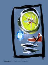 """""""Gedankenausbruch 5"""" / Werkverzeichnis 1.930 / datiert Boddin, 13.02.99 / diverse Farben auf verschiedenfarbigem Papier / Maße b 29,7 cm * h 42,0 cm"""