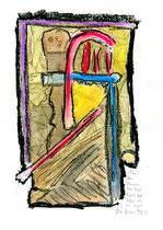 """""""In den Mauern der Zeit"""" / WVZ 3.683 / Datiert T. d. M., 14.02.2004 / Aquarellfarbe, Kohle und Kreide auf Papier / Maße b 21,0 cm * h 29,7 cm"""