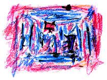 """""""Schmetterlinge trotzen Stürmen - 2 -"""" Isny, den 24.11.1991, Werkverzeichnis 248, Tusche, Ölkreide und Tinte auf Papier, b 40,0 cm * h 30,0 cm"""