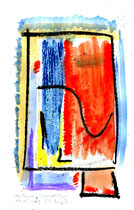 """""""Am Fenster"""" / WVZ 3.684 / Datiert T. d. M., 14.02.2004 / Aquarellfarbe und Kohle auf Papier / Maße b 21,0 cm * h 29,7 cm"""