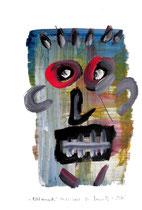 """""""Bildversuch"""" / """"Ich"""" / Werkverzeichnis 3.245 / datiert Wiesmoor, 11.12.00 / diverse Farben und Bleistift auf Papier / Maße b 30,0 cm * h 42,0 cm"""