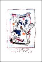 """""""Aus dem Blauen heraus"""" Originalgrafik. Sayalonga, 19.06.2013. Größe b 21,0 cm * h 29,7 cm. Farbzeichnung / Malerei mit Asche, Rotwein, Buntstift, Bleistift, Textilfarben auf Papier. Werkverzeichnis 4137."""