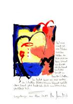 """""""Die Sonne neigt sich"""" / Sayalonga, im Mai 2014 """"Sprechbild"""" mit vorstehendem Text. Original Grafik mit Tusche, Aquarell, Bleistift und Text auf Papier. B 21,0 cm * H 29,7 cm Werkverzeichnis 4170"""