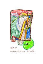 """""""Südblick"""" Sayalonga, 05.08.2013. Originalgrafik. Größe b 21,0 cm * h 29,7 cm. Bleistift, Textilfarben und Kreide auf Papier. Werkverzeichnis 4156."""