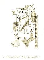 """""""ICE Hannover - Frankfurt"""" / Werkverzeichnis 1.732 / datiert 07.10.98 / Filzstift auf Papier / Maße b 20,6 cm * h 27,8 cm"""