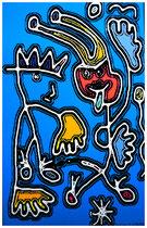 """""""Der König und sein Narr"""" 2/3 Werkverzeichnis 2.489 / datiert Gestringen, 12.12.99, PC-Zeichnung als Tintenstrahldruck auf Papier / Maße b 42,0 cm * h 59,5 cm"""