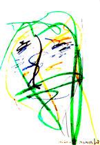 Besäufnis XI Isny, den 19.11.91 Farben, Kohlen, Bleistift auf Papier, b 24 cm * h 34 cm. Werkverzeichnis 225