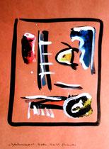 """""""Gedankenausbruch 4"""" / Werkverzeichnis 1.929 / datiert Boddin, 13.02.99 / diverse Farben auf verschiedenfarbigem Papier / Maße b 29,7 cm * h 42,0 cm"""