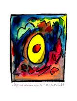 """""""Vogel mit verlorenem gelben Ei"""" WVZ 1.218 / datiert 30.12.96 Kohle und Aquarell auf Papier b 30,0 cm * 40,0 cm"""