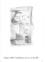 """12. """"Gefangener Wächter"""" / datiert 09.07.01 / Bleistift und Asche auf Papier / Maße b 21,0 cm * h 29,7 cm / WVZ 3.361"""