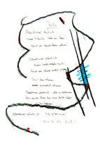 """""""Asche"""", Werkverzeichnis 1.092 Datiert 08.11.1996 Kohle, Filzstift, Text auf Papier Maße b 24,0 cm * 32,0 cm"""