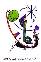 """""""Noch blinde Frau Jugoslavija 1"""" / Werkverzeichnis 1.730 / datiert 10/98 Textilfarben auf Pappe Maße b 29,8 cm * h 44,4 cm"""