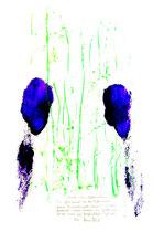 """Platzabdrucke - Platzabriebe - Berührungspunkte Mensch - Natur / """"Abrieb meines Gebetsplatzes"""" / WVZ 3.111 / Kreide und Farbabrieb / Maße b 42,0 cm * h 59,4 cm"""