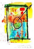 """""""Sonnenflecken"""" / WVZ 3.681 / Datiert T. d. M., 14.02.2004 / Aquarellfarbe und Kohle auf Papier / Maße b 21,0 cm * h 29,7 cm"""