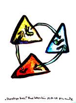 """""""Dreieckiger Kreis"""" / Werkverzeichnis 1.654 / datiert Bad Sobernheim, 22.07.1998 / Aquarell und Tusche auf Papier / Maße b 36,0 cm * h 48,0 cm"""