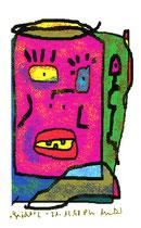 """""""Gesicht"""" 2 / Werkverzeichnis 1.818 / datiert 21.12.98 / PC-Zeichnung als Tintenstrahldruck auf Papier / Maße 10,5 cm * 15,0 cm"""