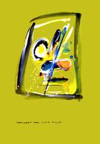 """""""Gedankenausbruch 8"""" / Werkverzeichnis 1.933 / datiert Boddin, 13.02.99 / diverse Farben auf verschiedenfarbigem Papier / Maße b 29,7 cm * h 42,0 cm"""