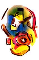 """""""Komposition 1"""", WVZ 870, datiert 02.12.1995, Aquarell, Sprühlack und Filzstift auf Papier, jew. b 30,0 cm * h 40,0 cm"""