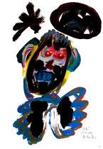 """""""Ich"""" 3 / Werkverzeichnis 3.247 / datiert Wiesmoor, 11.12.00 / diverse Farben und Bleistift auf Papier / Maße b 30,0 cm * h 42,0 cm"""