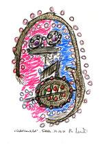 """Wackelkandidat"" / WVZ 3.397 / datiert 29.10.01 Kreide, Textilfarbe und Aquarell auf Papier / Maße b 21 cm * h 29,7 cm"