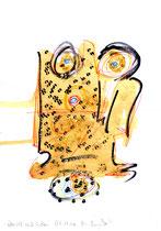 """""""Überall auf Erden"""" / WVZ 3.224 / datiert 06.11.00 / Filzstift, Bleistift, Asche und Aquarell auf Papier / Maße b 21,0 cm * h 29,7 cm"""