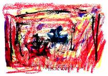 """""""Schmetterlinge weinen nicht"""" Isny, den 03.12.1991, Werkverzeichnis 257, Tusche, Ölkreide und Tinte auf Papier, b 40,0 cm * h 30,0 cm"""