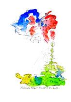"""""""Taufrischer Morgen"""" Werkverzeichnis 1.298 / datiert 24.02.1997 Filzstift und Aquarell auf Papier Maße b 30,0 cm * h 40,0 cm"""