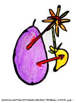 """""""Genetisch manipulierte Leibesfrucht verschiedener Evolutionen!"""" Werkverzeichnis 1.640 / Datiert Bad Sobernheim, 22.07.1998 Aquarell und Tusche auf Papier / Maße b 42,0 cm * h 56,0 cm"""