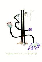 o. T. Originalgrafik. Sayalonga, 06.09.2012. Größe b 21,0 cm * h 29,7 cm. Tusche und Filzstifte auf Papier. Nachträge-Werkverzeichnis.