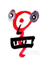 """""""Selbstbildnis"""" 12 / WVZ 3.256 / datiert Wiesmoor, 11.12.00 / diverse Farben auf Papier / Maße b 30,0 cm * h 42,0 cm / verkauft an Karin und Cees aus Holland (Casa Louisa)"""