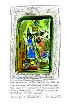 """""""Kopf im Leben kritischer Objekte"""" - Abendhaus - / WVZ 3.775 / datiert 20.12.2006 / Tintenstrahldruck, Bleistift, Filzstift und Text auf Papier / Maße b 21,0 cm * h 29,7 cm"""