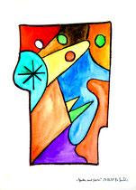 """""""Garten mit Stern"""" / Werkverzeichnis 1.596 / datiert 29.05.98 / Kohle, Aquarell und Kreide auf Papier / Maße b 30,3 cm * 40,0 cm"""